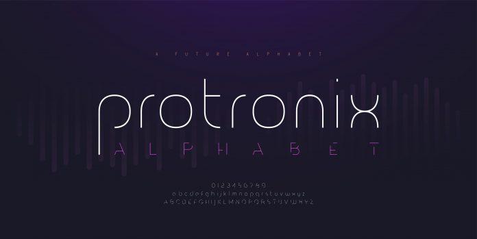 Abstract digital modern alphabet fonts