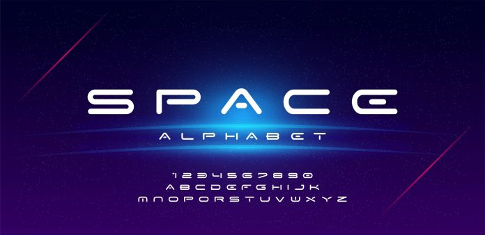 Abstract technology space alphabet Font
