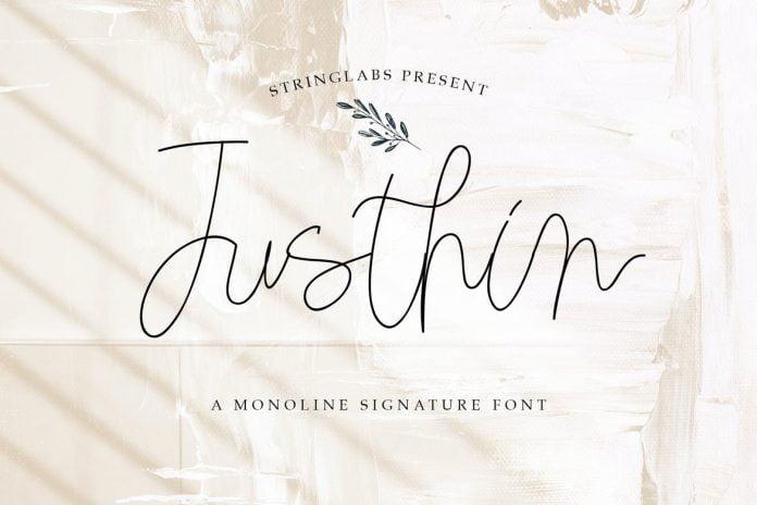 Justhin - Monoline Signature Font