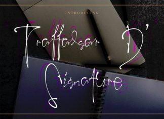 Traffalgar D Handwritten Signature Font