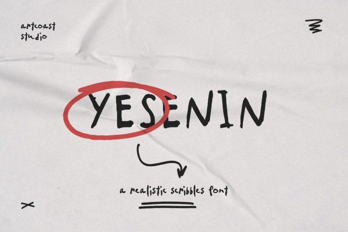 Yesenin Realistic Scribbles Font